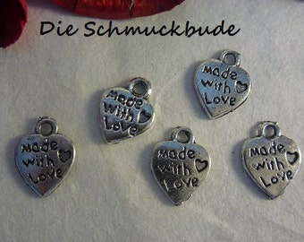 "D-02191 - 10 heart pendants ""Make with Love"""