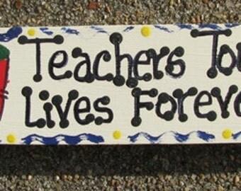 Teacher Gift B5036 Wooden Block Teachers Touch Lives Forever