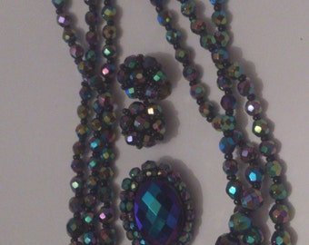 vintage AB beads necklace brooch and earrings