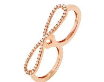 Two Finger Cubic Zirconia Infinity Ring