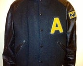 Vintage 1990s NASA  college Letterman varsity jacket. wool and genuine leather sleeves hiphop swag  size LARGE