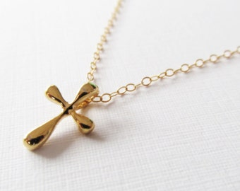 Gold Cross Necklace, 14kt Gold Filled Necklace Gift for Her