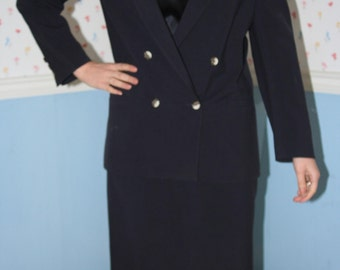 Navy Wool Suit with Double Breasted Jacket
