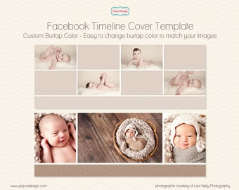 Instant Download Facebook Timeline Cover Template for Photographer. Burlap Basic Template Pack 03 - PT048