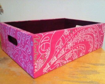 Hand-painted pink wooden box