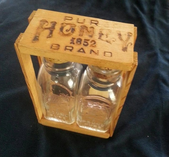 Vintage Antique Pure Brand 1852 Honey Bottles In By RosiesHut