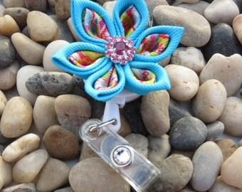 Retractable I.D. Badge Holder Blue Kanzashi Ribbon Flower ID Holder