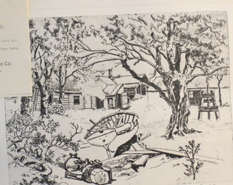Lionel Barrymore Etching of Shoreside Farm