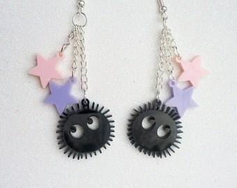 Soot Sprite Earrings - Black Acrylic Studio Ghibli Spirited Away Totoro Earrings