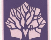 Lovebirds papercut card (violet & pink)