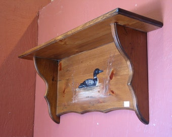 Country Dcorative Shelf / Painted Loon Shelf