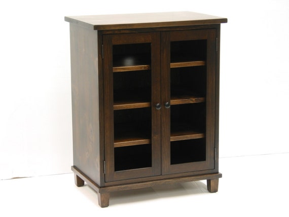 stereo cupboard / stereo cabinet with two glass doors /