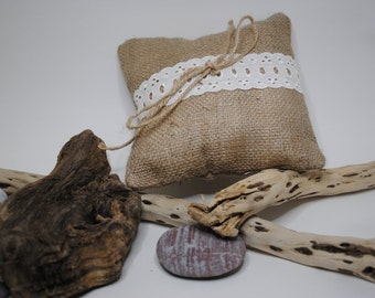 Burlap/ Jute Wedding Ring Bearer Pillow