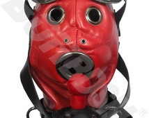 The Loon bdsm mask, locking leather hood with pure silicone gag, red Leather fetish bondage gimp mask hood, Mature