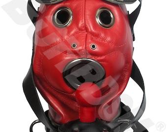 The Loon bdsm mask, locking leather hood with pure silicone gag, red Leather fetish bondage gimp mask hood, Mature