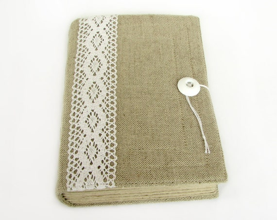 Large Fabric Book Cover ~ Large lace journal wedding guest book diary by artsbooks