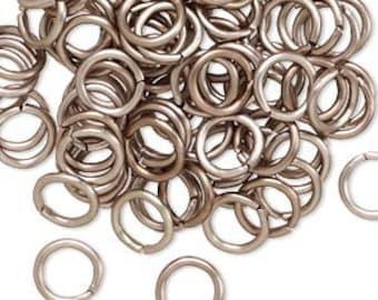 100 Aluminum Jumprings 8mm, 16 gauge Antique Copper