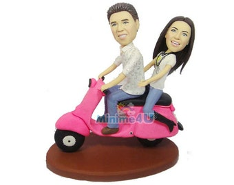 young couple ride a scooter custom hand made anniversary figurine  (Free Shipping Worldwide)
