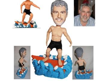 personalized surfing man custom figurine 100% handmade (Free Shipping Worldwide)