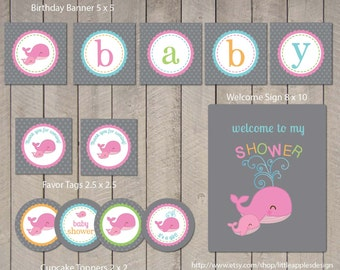 Whale Baby Shower Package / Pink Whale Baby Shower Pack / Whale Baby Shower Printable / Whale Baby Shower Decorations