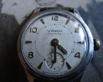 Rare URAN VOSTOK Russian Soviet Vintage wrist watch Ussr era 1960s / Chistopolj Vostok CHCHZ