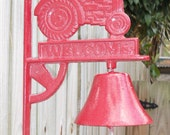 Red Cast Iron Tractor Dinner Bell - ReneesRusticFinds