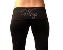 Custom Wifey Black Fold Over Yoga Pants with Pink Rhinestones . Custom Bridal Yoga Pants . Custom Wifey Yoga Pants . Wifey Yoga Pants .