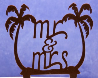 Beach Themed Wedding Cake Topper Mr And Mrs With Palm Trees