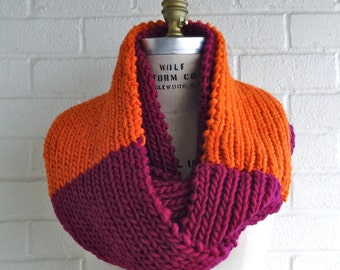 Warm and Cozy Orange and Fuchsia Color Block Infinity Wool Scarf, Made in USA, Chunky and Fun - 100% Wool