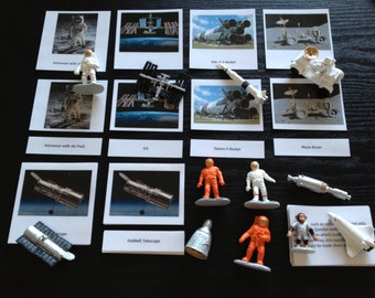 Montessori Space Science Replica 5 Part Cards Set with Miniatures