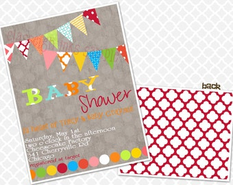 Pennant  Baby Sprinkle  Baby Shower Primary Colors Bright Colors Baby Sprinkle Baby Shower Invite