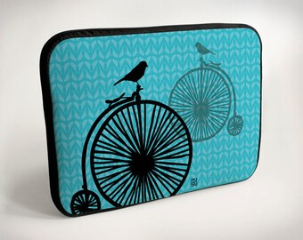 Bicycle with one bird - Laptop Case - Laptop Bag - Laptop Sleeve - Pink - Blue