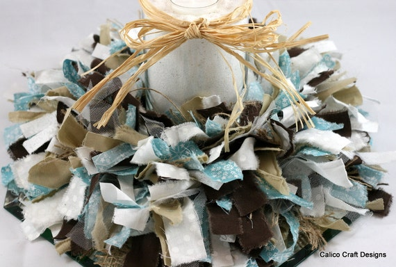 Great for Beach Lovers! --- Blue, White, and Brown Fabric Rag Candle-Ring