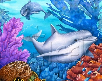 "Carolyn Steele tropical art print, playful dolphins: ""Reef Racers"""