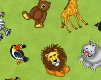 Timeless treasures flannel Kidz animal lime 0,5 m pure Cotton