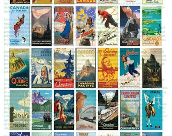 CANADIAN TRAVEL POSTERS - 1x2 vintage art domino sized digital print out sheet for craft projects