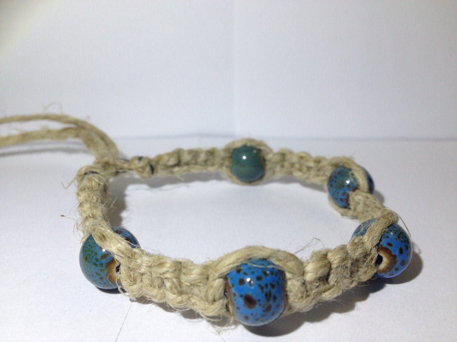 turquoise ceramic beaded hemp bracelet