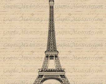 Eiffel Tower PNG JPEG Paris French Graphics Digital Image Instant Download Iron on Transfer Fabric Clothing Tote Bags Tea Towels a 305