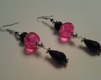 Hot Pink and Black Earrings