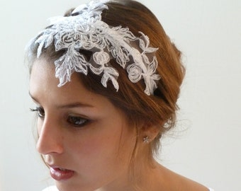 Bridal Lace Headband, Bridal Flower Headband ,Bridal fascinator hairpiece , Floral Bridal Lace,vintage style beaded lace