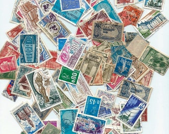 25 Vintage french Postage Stamps - Scrapbooking, collage, altered art