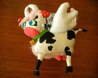 Ooak Plush Toy Chila cow for baby in Pink Red or Yellow