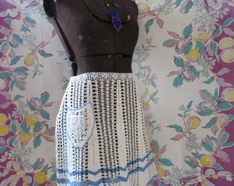 Vintage Hand Made Apron, Crocheted Cream and Blue Trimmed Half Apron With Pocket, Crocheted Apron, Hand Made Off White Crocheted Apron