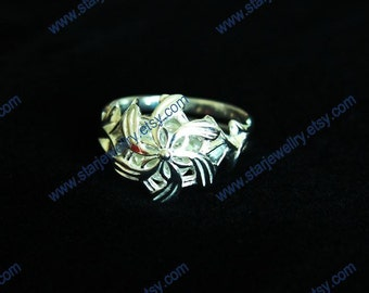 Water ring with silver crystal---925Sterling ring