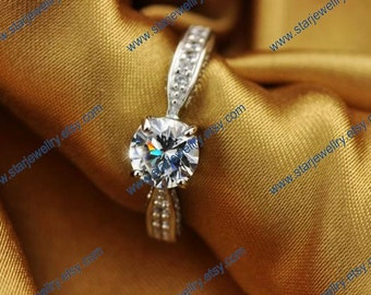 Classic wedding ring 3 sides inlay Swiss Crystal love forever 925sterling ring with platinum plated