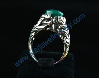 Natural green agate stone air ring ---925sterling ring