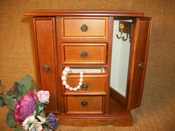 Wooden Jewelry Box Ring And Earring Storage Chest Necklace