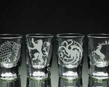 Game of Thrones - House - Etched Shot Glasses - Set of 4