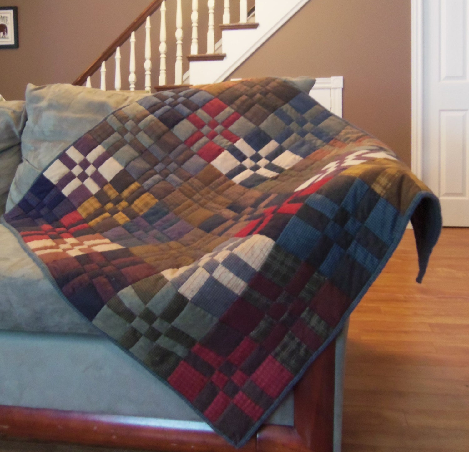 Plaid Baby Quilt: Lap Quilt Crib Baby Quilt Hand Quilted Plaid Flannel