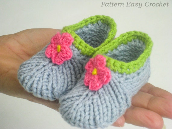 Knitting pattern baby slippers seamless that is very